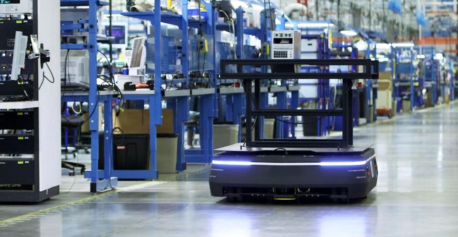 Automated Guided Vehicle on factory assembly line