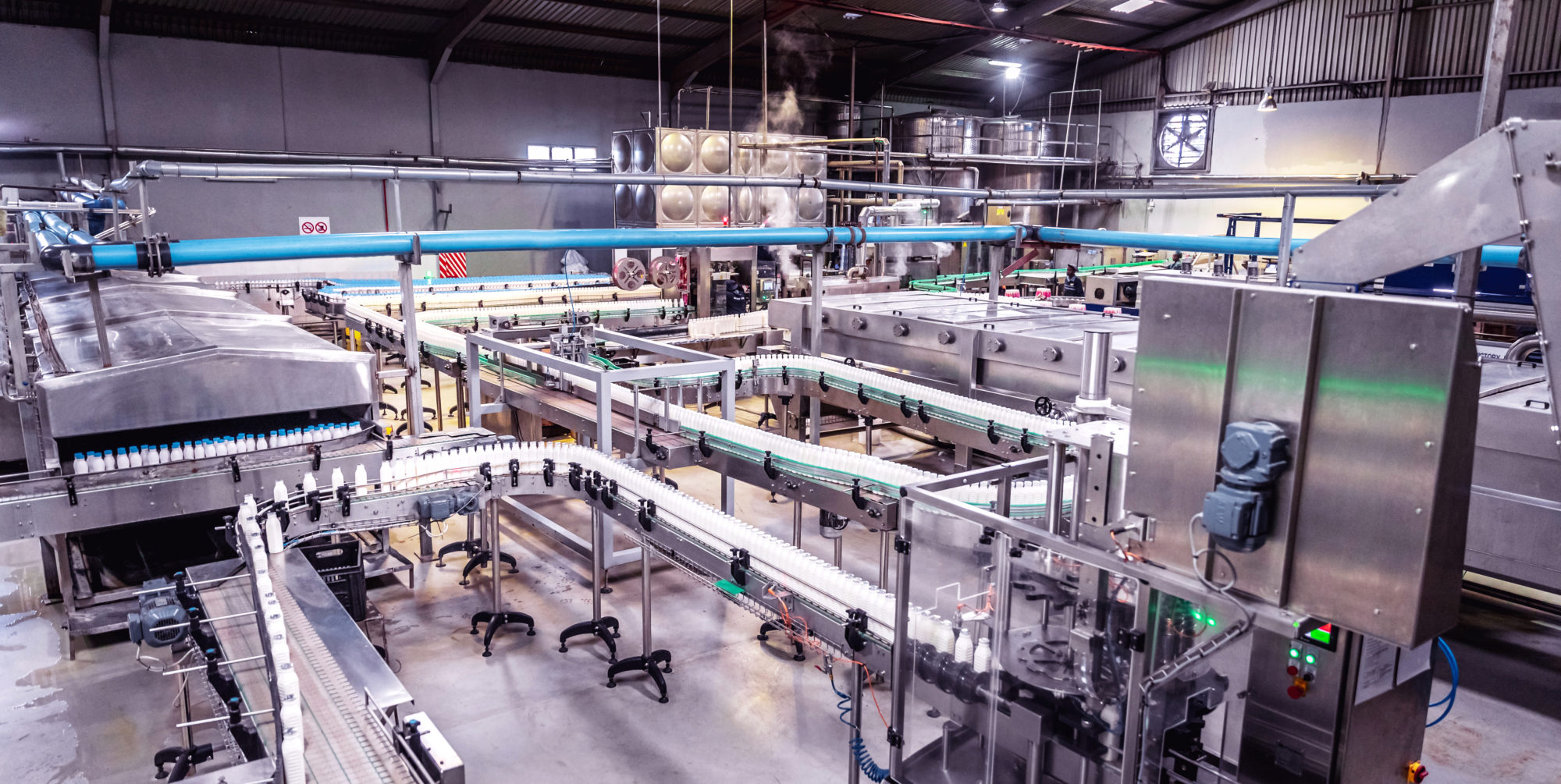 Dairy Factory in Africa with milk bottle production line