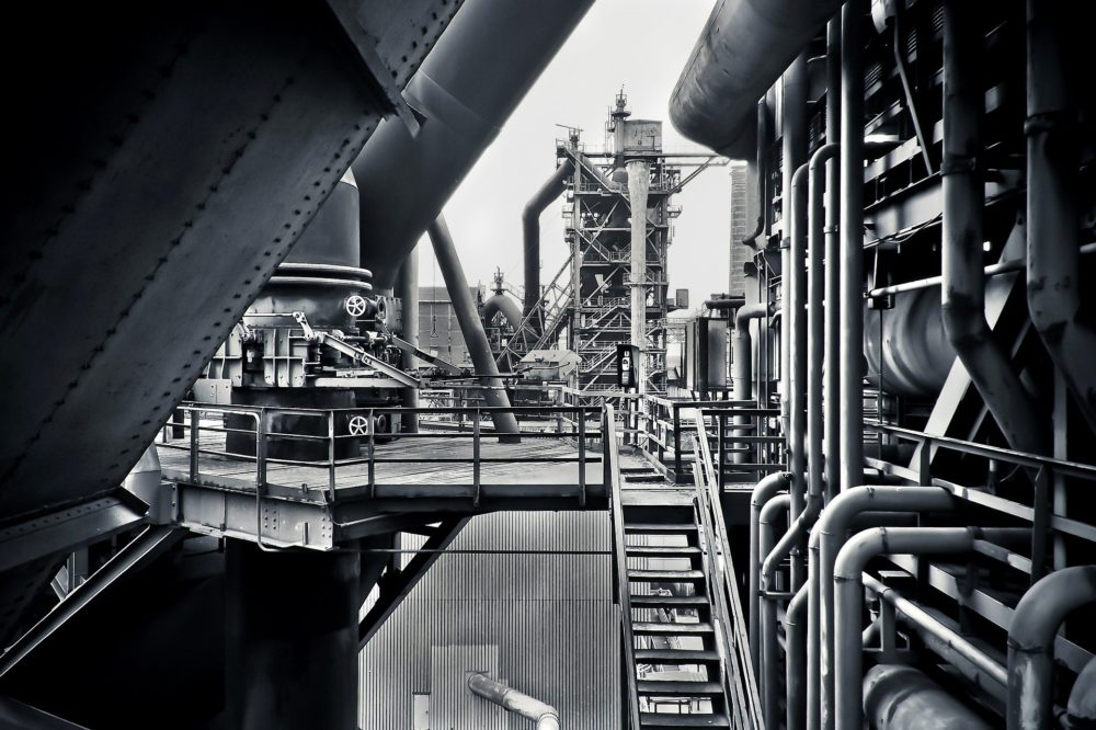Process control plant in black and white