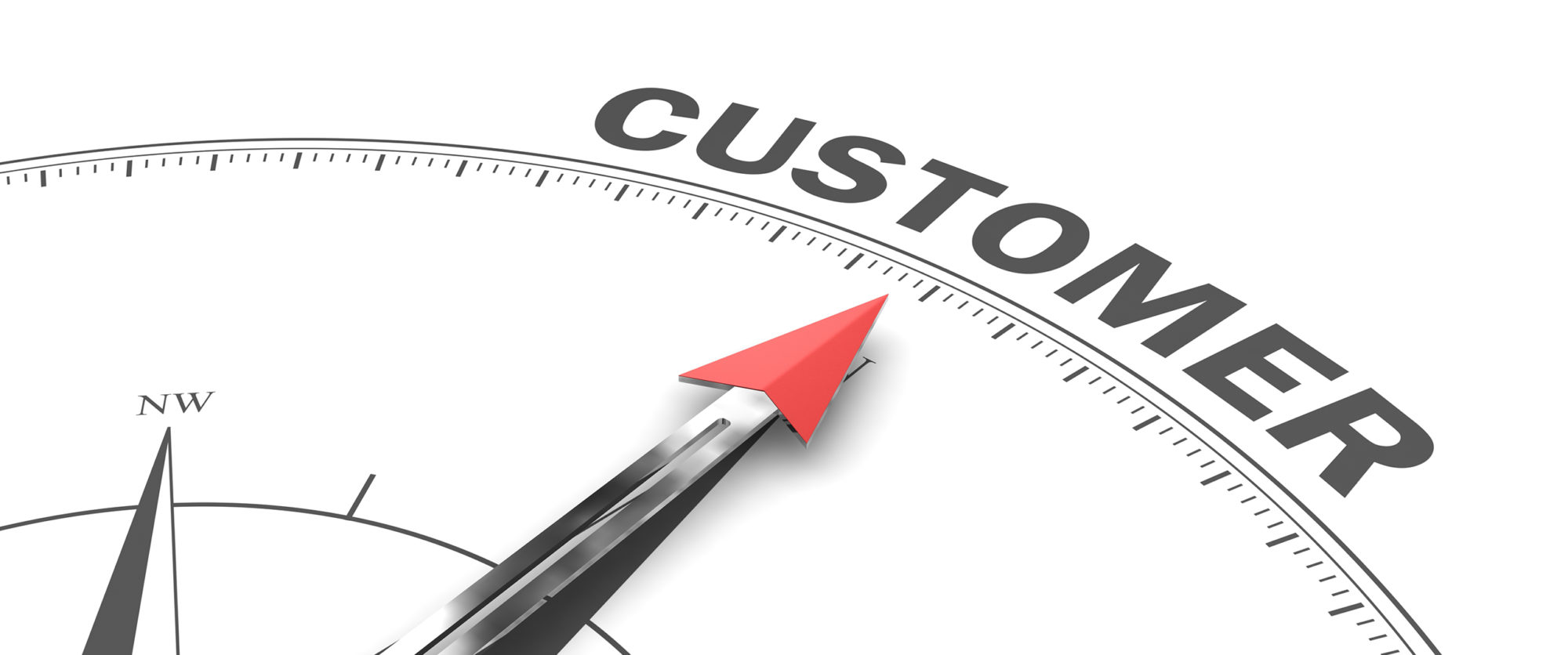 Compass pointing towards the word customer