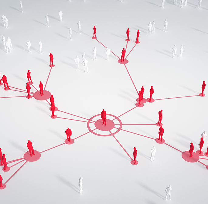 Web of people connecting