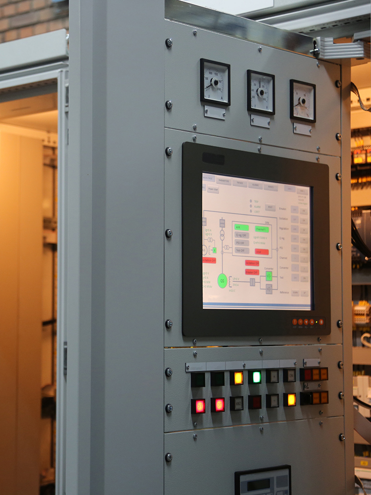 Excitation system cabinet with doors open