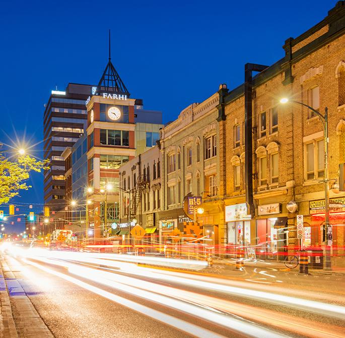 Night photo of downtown London Ontario Canada
